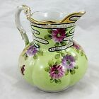 Japanese Ceramic Pitcher Porcelain Hand Painted Flower Pattern with Gold Luster