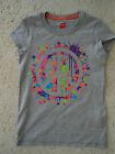 NEW GIRLS HANES GLITZY GRAPHIC COTTON BLEND TEE TOP GRAY PEACE SIGN L 10 12