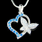 Royal Blue HEART BUTTERFLY made with Swarovski Crystal Love Lover charm Necklace