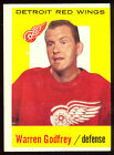 1959-60 TOPPS HOCKEY #27 WARREN GODFREY EX DETROIT RED WINGS FREE SHIP TO USA