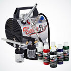 NEW 3x Airbrush Kit 6 Createx Primary Color Air Compressor Dual Action Art Hobby