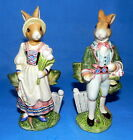 FITZ AND FLOYD OLD WORLD BUNNY RABBITS SALT & PEPPER SHAKERS FIGURINES SIZE 6