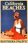 Southern Pacific Railroad CALIFORNIA BEACHES Poster Retro Art Deco Print 041