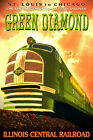 ILLINOIS CENTRAL Railroad Green Diamond Streamliner Retro Poster Art Print 208