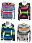 POOF Made With Love Multi Color Rainbow Bright Neon Stripe Knit Sweater New NWT