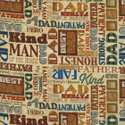 RJR Man of the House 1717 001 Cream Words BTY Cotton Fabric FREE US SHIP