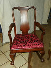 Mahogany Rocker / Rocking Chair with persimmon velvet  (R5)