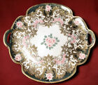 Nippon Mark #52 Maple Leaf Handled Cake Plate Charger Gold w/Roses