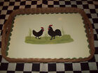 LARGE STAINED WICKER SERVING TRAY W ROOSTER HEN CHICKEN ART TV SNACK TRAYS NEW