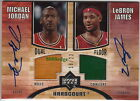 2006-07 HARDCOURT DUAL FLOOR AUTO: MICHAEL JORDAN LeBRON JAMES #18 23 AUTOGRAPH