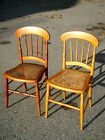 2-VINTAGE-1950-WICKER CHAIRS/33 x16 x15/STURDY FRAME/SEATS ARE FRAYED BUT USABLE