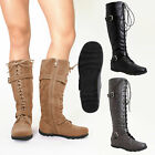 Womens Flat Knee High Boots Lace Up Suede Buckles Comfort Winter Ladys Shoes