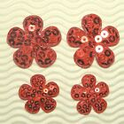 US SELLER 60 pc x Mix Size Sequined Felt Spring FLOWER Padded Appliques ST620R