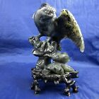 CHINESE FOLK ART Hand Carved BLACK JADE EAGLE FIGURINE Statue WOOD BASE PLATFORM