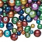 BULK 600 + Metallic Glass Beads Assorted Color Mixed Sizes  Shapes 4mm 8mm