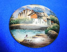 Antique German Porcelain Lidded Beer Stein Top Cover Motive Lake with House #A32