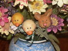 Primitive Folk Art Plant Stakes Set/3 Bunny Duck Chick