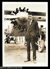 1927 CHARLES LINDBERGH Standing Before SPIRIT OF ST. LOUIS Vintage WIRE PHOTO