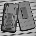 BLACK RUGGED HYBRID HARD CASE COVER BELT CLIP HOLSTER For ZTE MAX N9520 Boost