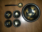 Asian Lot set rosewood laquer ware bowls serving ladle rare HTF dishes marked