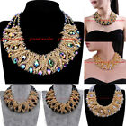 Hot Fashion Gold Chain Rhinestone Crystal Chunky Choker Statement Bib Necklace