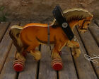 Vintage German Wooden Pull Toy Horse #