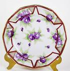Antique Plate Noritake Nippon 1910-1911 Hand Painted Purple Flowers Bead Moriage