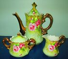 Lefton 3065 Heritage Green Roses 22K gold handles tea pot sugar and creamer