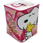 PEANUTS CARTOON SNOOPY HUGGING WOODSTOCK METAL TIN BANK 3 3/4