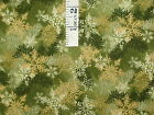 1Y Snowflakes Pines Gold Cream Green Cotton Fabric Winter Christmas