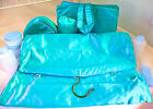 Shining SATIN Blue 1940-50 VANITY BAGS~4 Pc Unused LUXURIOUS  Zipper Bags