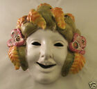 Vintage  Deruta Italy Wall Hanging Terra Cotta Mask with Flowers