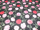24 Northcott Quilt Fabric Pink Carnation Flowers on Black Flower of Month Jan
