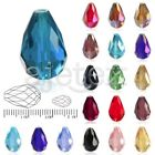 72 50Pcs 6 10mm Faceted Teardrop Crystal For Swarovski Loose Spacer Glass Beads