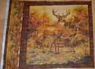 A WHITETAIL DEER A BUCK AND DOE COTTON QUILTING FABRIC PANEL BY HAUTMAN FABRICS
