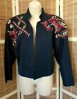 ESCADA by Margaretha Ley Black Embroidered Beaded Bolero Style Jacket 6  36