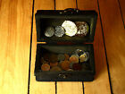 pirate wood treasure chest with 50 diff. world coins plus 4 gold doubloons