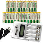 12 AA + 12 AAA 1350mAh 3000mAh NiMH 1.2V Rechargeable Battery US LCD Charger BTY