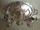 4 PC. F.B.ROGERS with CROWN TRADE MARK 1883 SILVER PLATE COFFEE/TEA SET (0297)