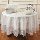 Elegant ROUND White LACE TABLE COVER 84'' Diameter Tablecover 696 NIP New