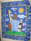 Quilted Fabric Panel Baby Animals Giraffe Clous Sun Moons Elephant Zebra Lion