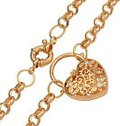 18k 18ct yellow gold filled filigree heart padlock euro bolt CZ necklace N-A267