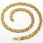 8mm 20 inch Gold Tone Flat Byzantine Boys Mens Chain Stainless Steel Necklace