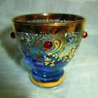 VINTAGE VENETIAN GLASS Shot Glass Set of 4 - Rich Gold And Blue - Reg $39