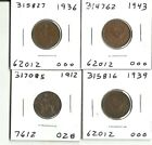 Four Great Britain Farthings - 1912, 1936, 1939, 1943 - #'s 317085, 16, 62, 27