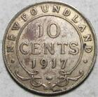 Newfoundland, 10 Cents, 1917C, Very Fine, .0701 Ounce Silver
