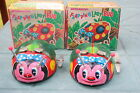 TWO VINTAGE 1950's WIND-UP FLAPPING LADY BUGS W/ ORIGINAL BOX COOL  JAPAN