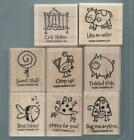 Stampin Up VERY PUNNY Mounted Rubber Stamp Set Set of 8