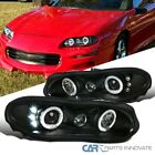 For Chevy 98 02 Camaro LED Halo Black Projector Headlights Head Lamps Left+Right