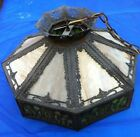 Victorian Ornate  Metal Fixture w /16 Slag Glass  Panels circa 1910-1915